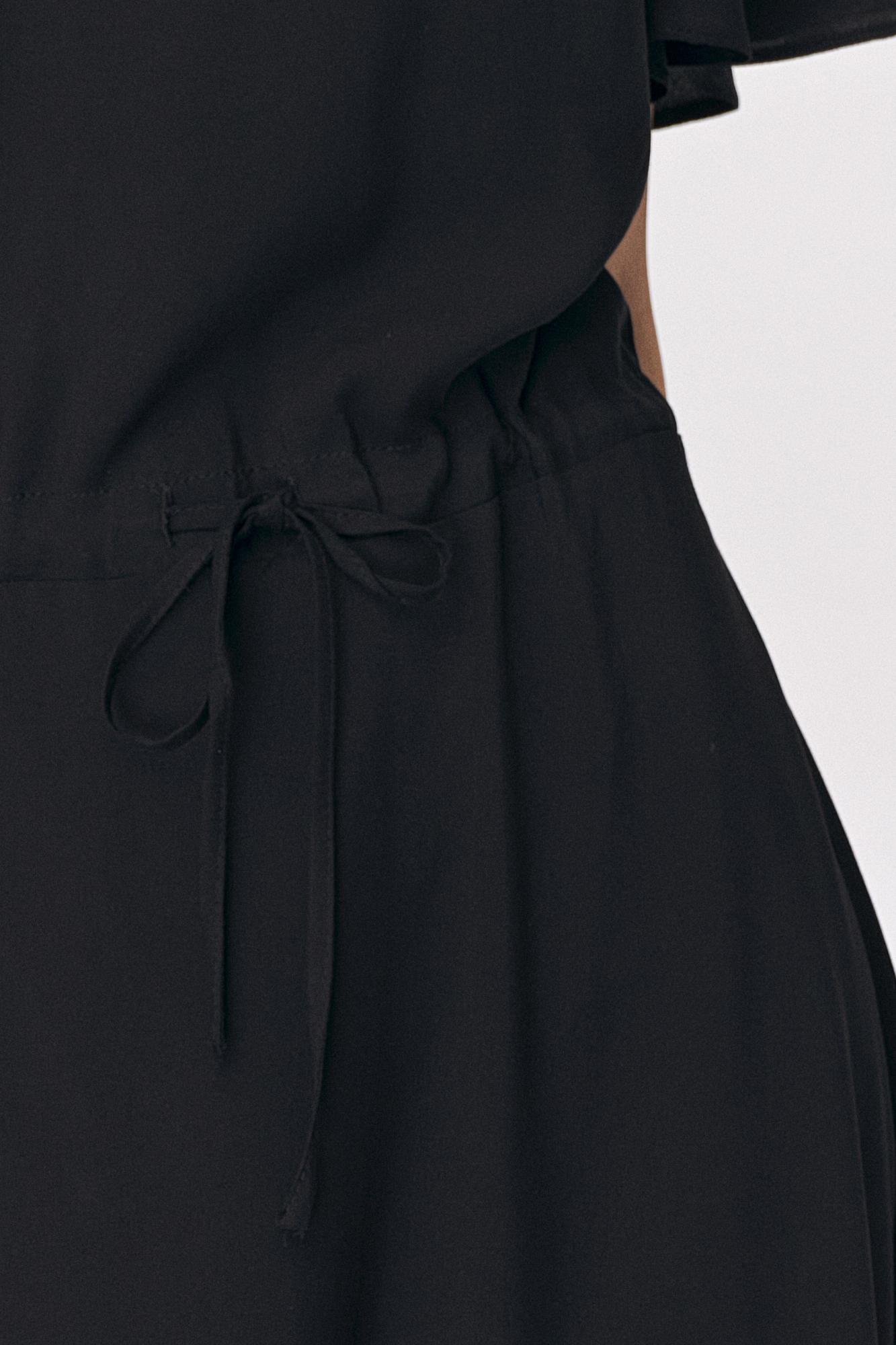Nife - Czarna sukienka maxi z rozkloszowanym rękawem 5
