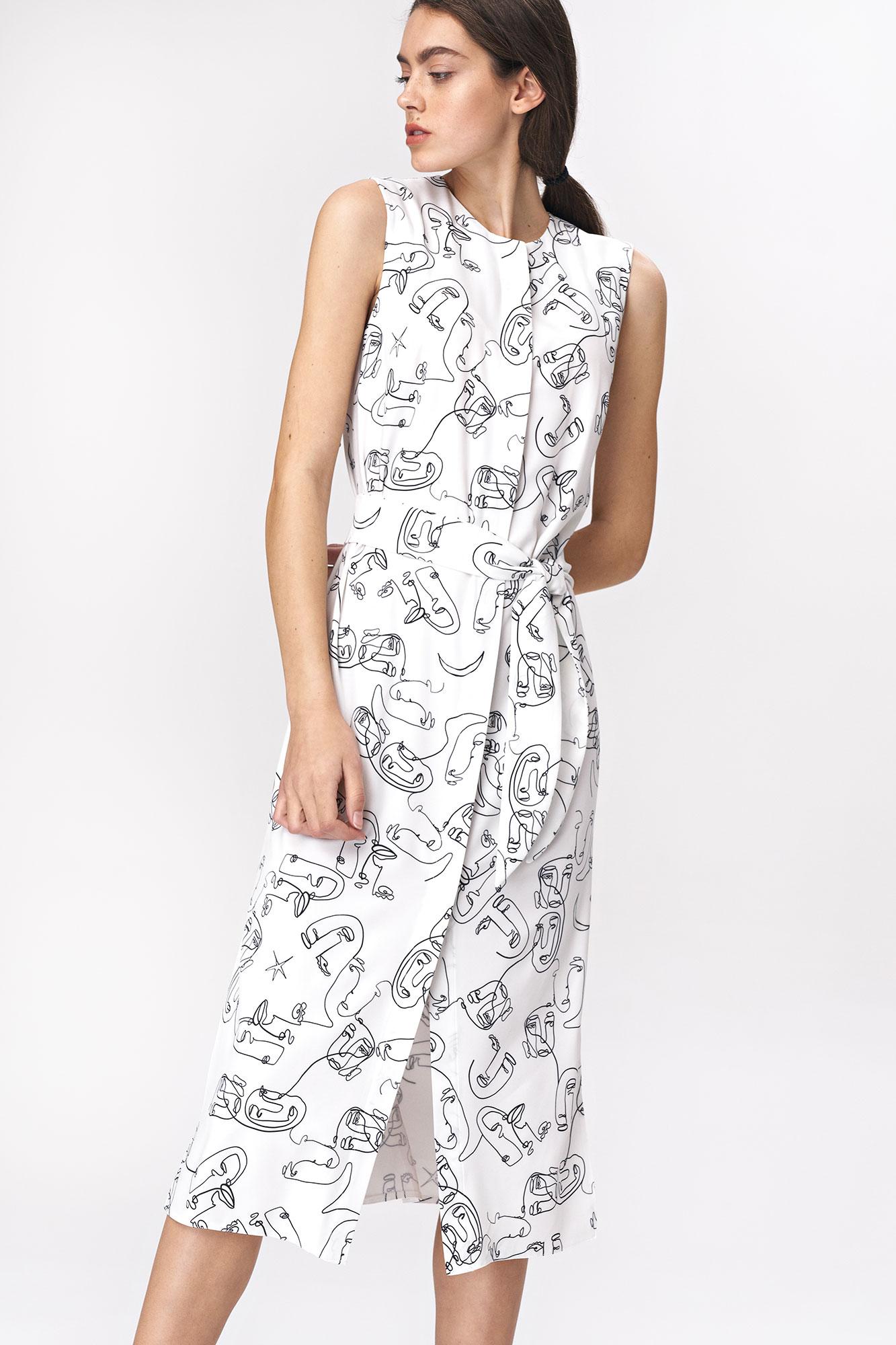 Nife - Sukienka midi z rozcięciem w twarze 3
