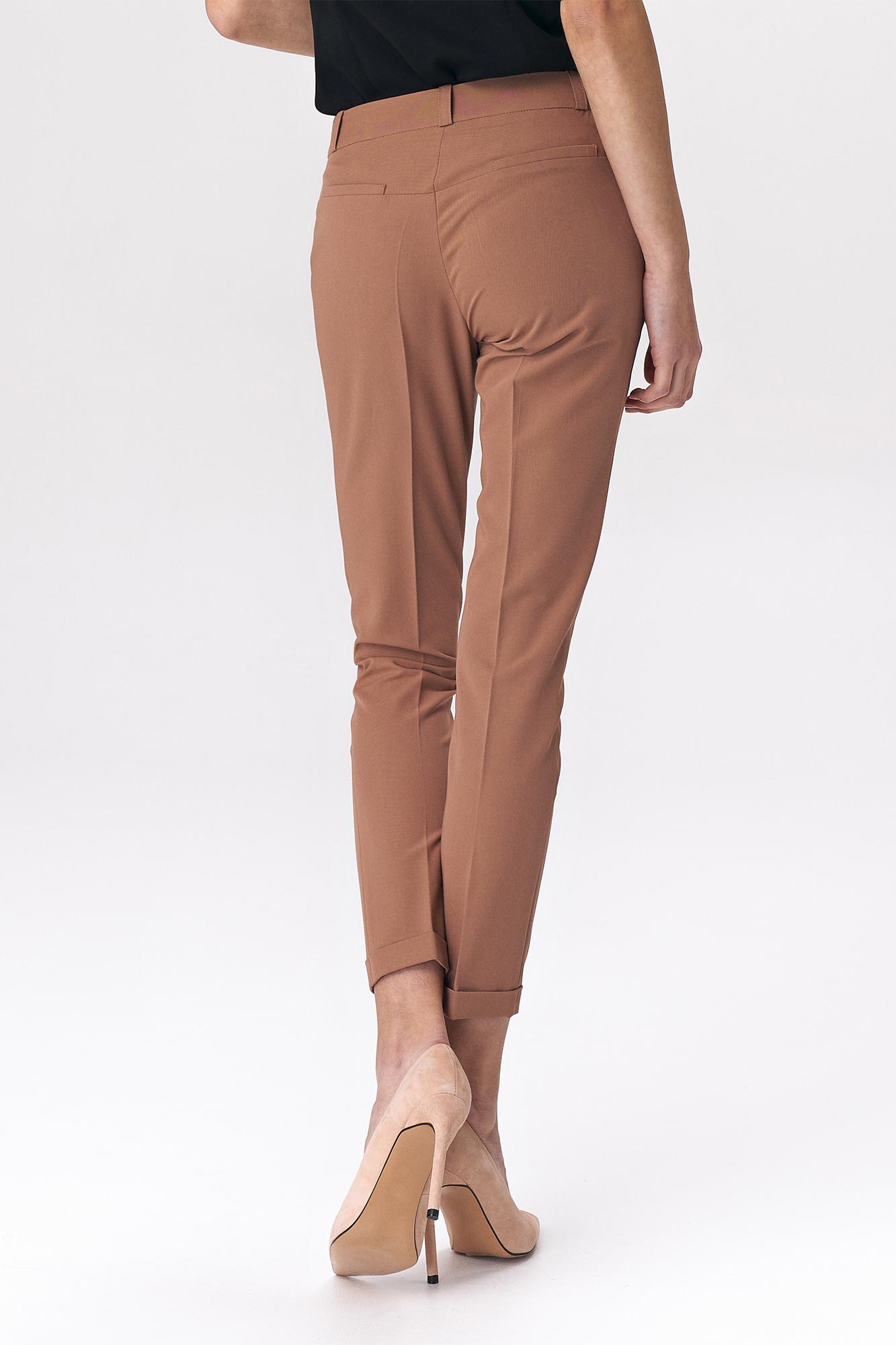 Nife - Karmelowe spodnie zapinane na napy 4