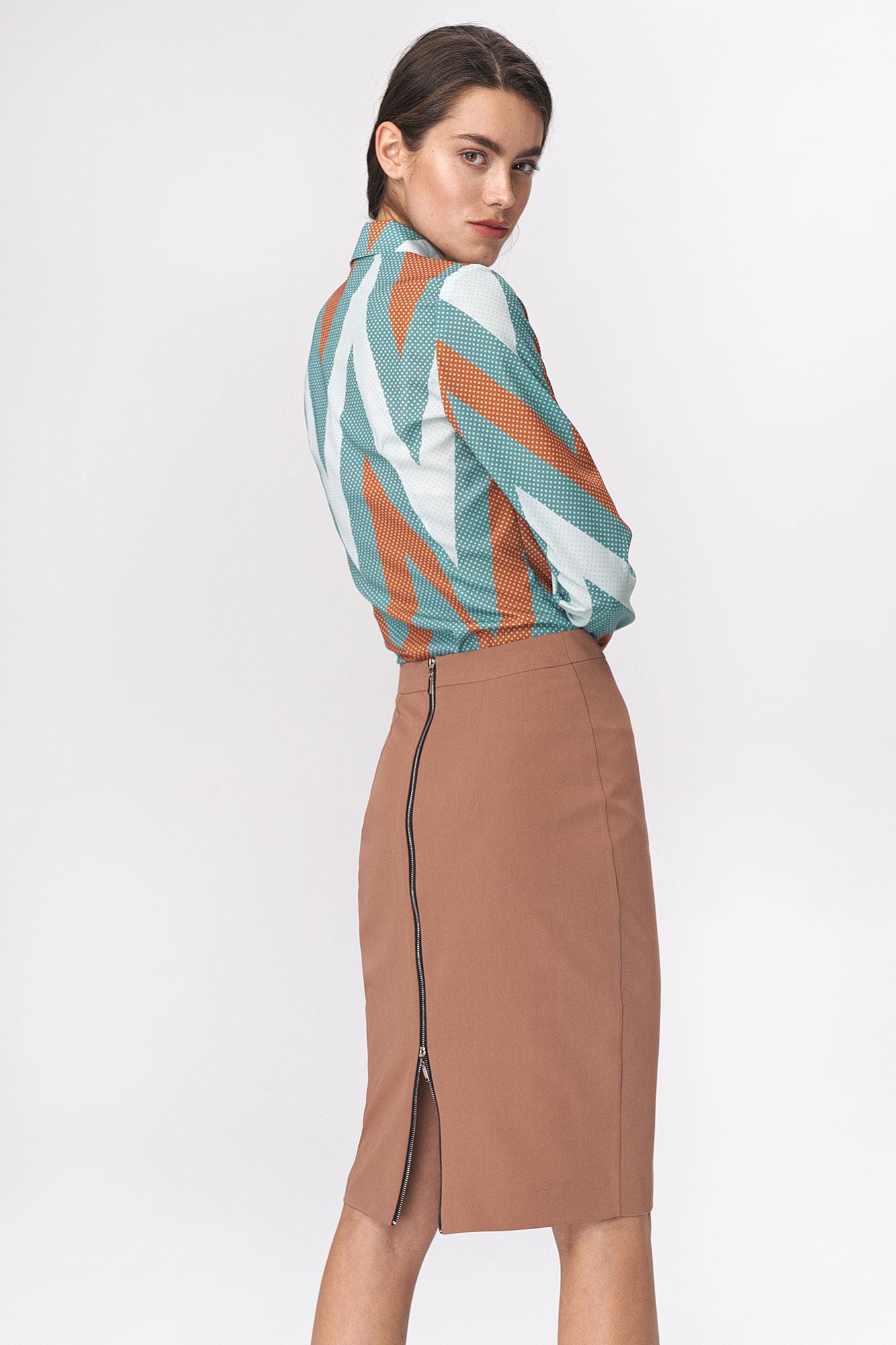 Nife - Karmelowa ołówkowa spódnica z dekoracyjnym zamkiem 4