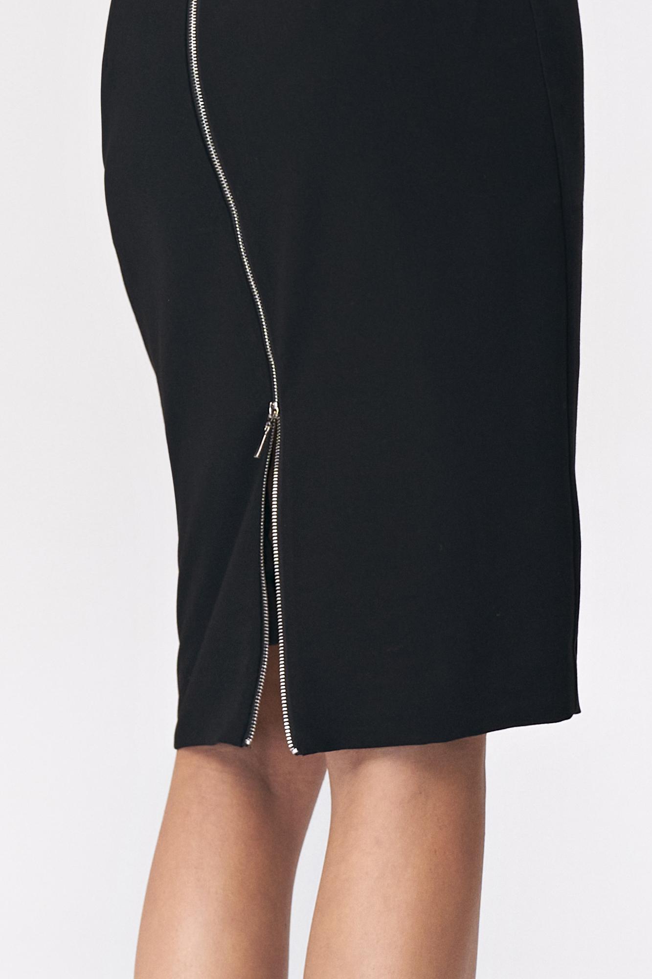 Nife - Czarna ołówkowa spódnica z dekoracyjnym zamkiem  5