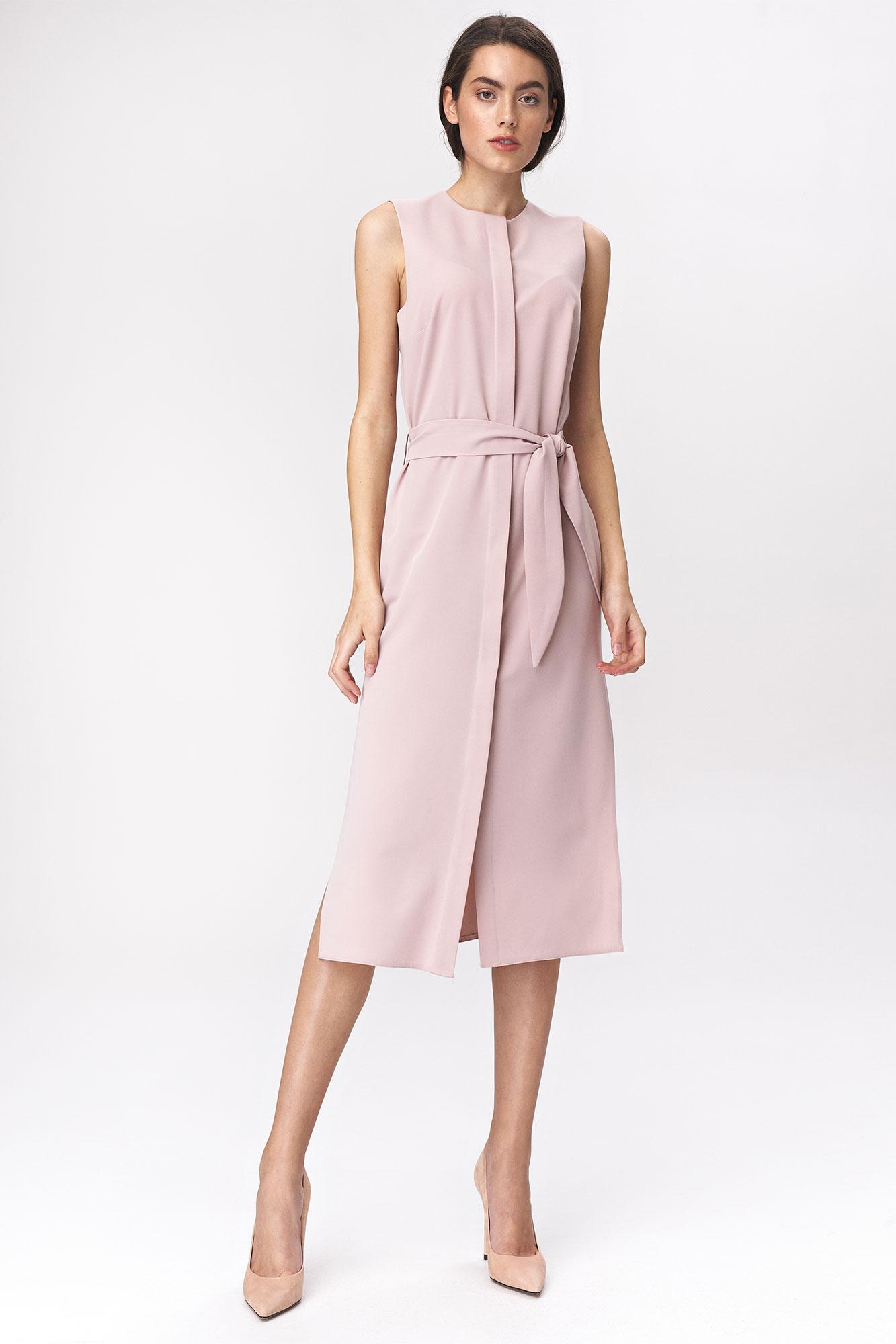 Nife - Różowa sukienka szmizjerka  1