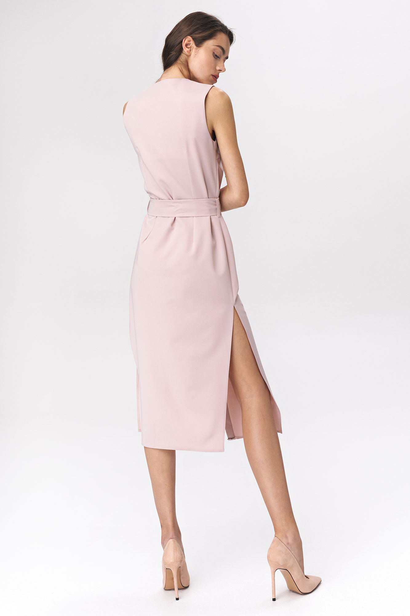 Nife - Różowa sukienka szmizjerka  2