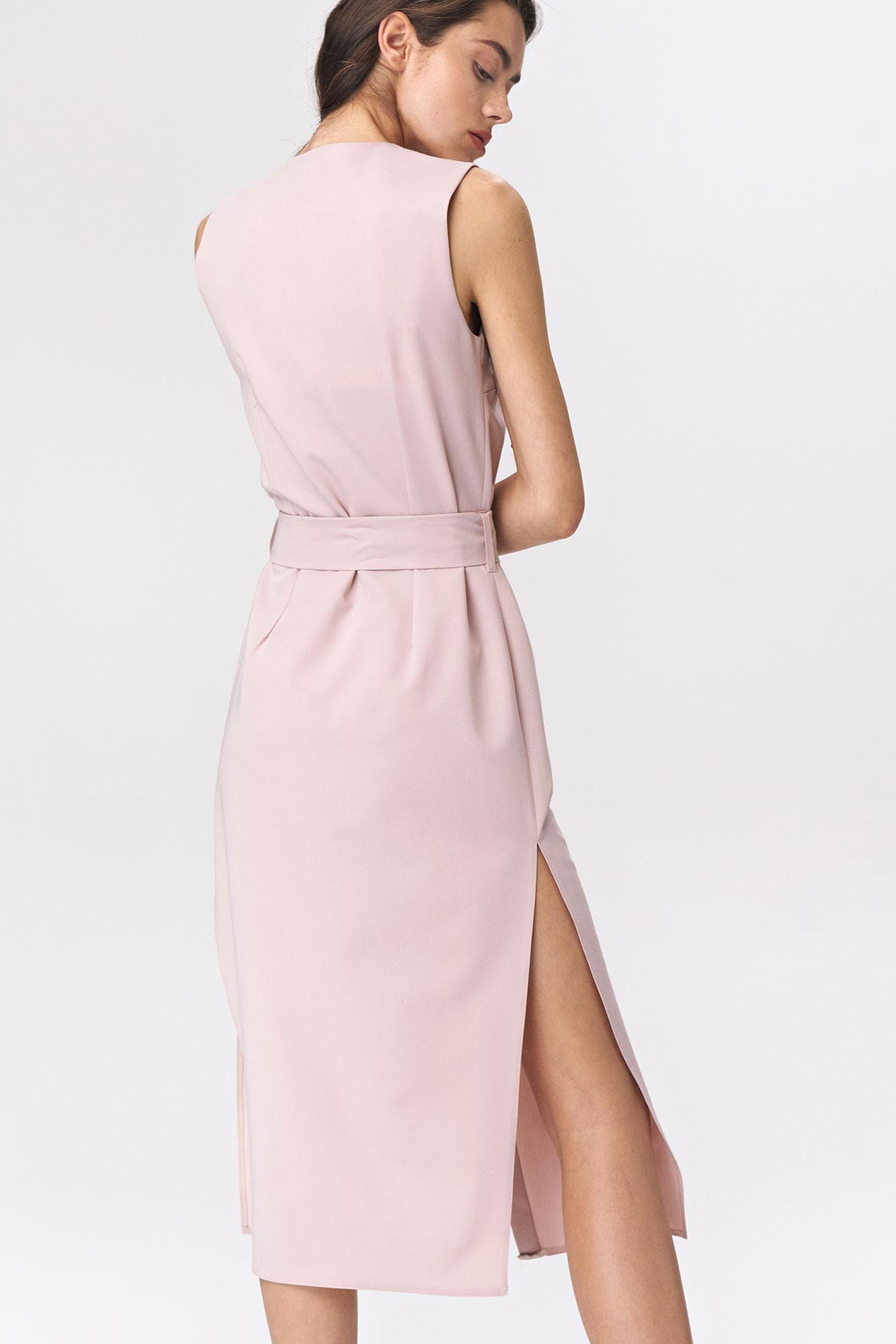 Nife - Różowa sukienka szmizjerka  4
