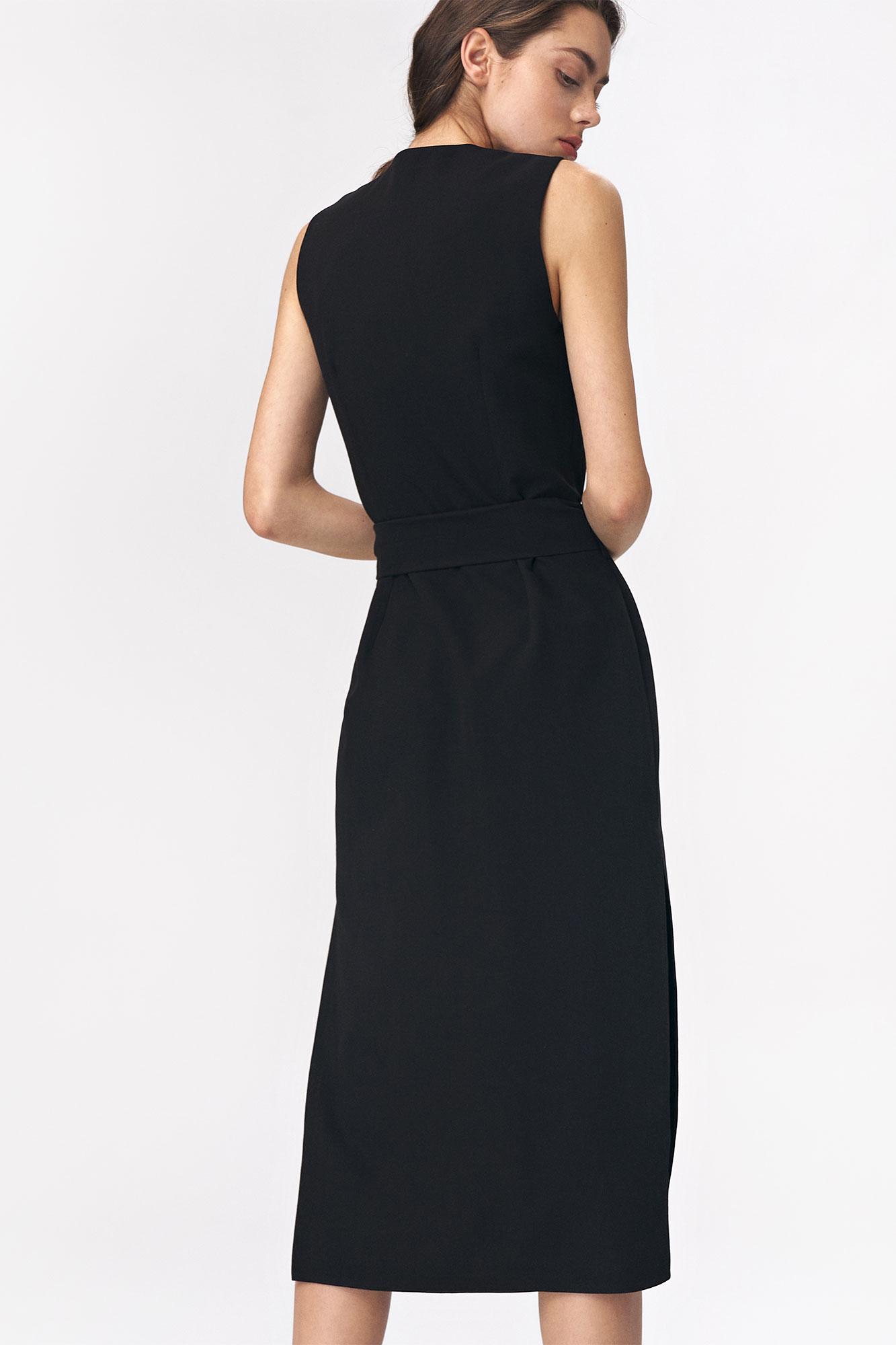 Nife - Czarna sukienka szmizjerka 5
