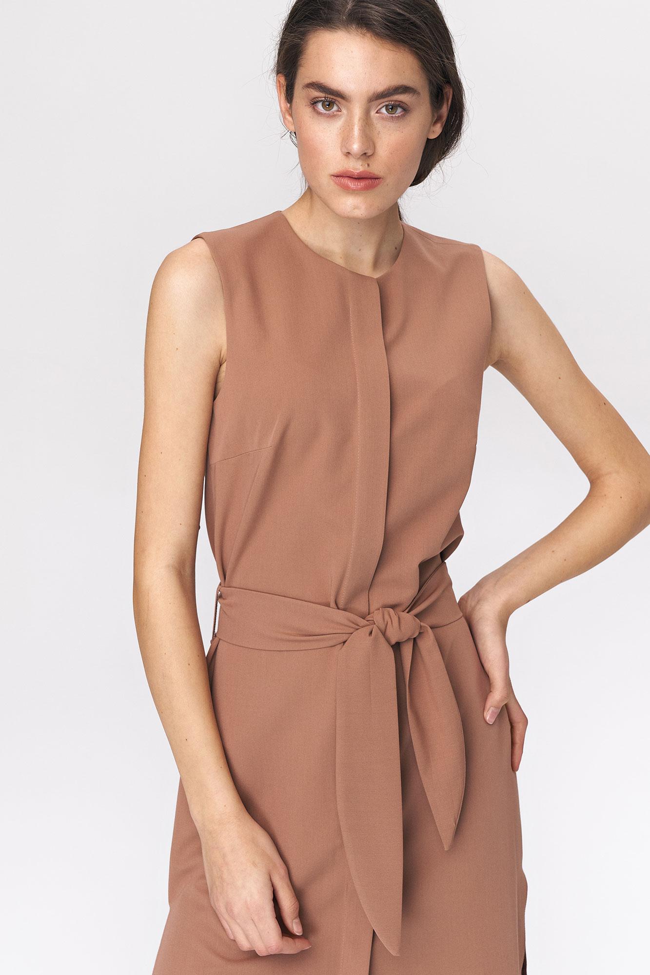Nife - Karmelowa sukienka szmizjerka 2