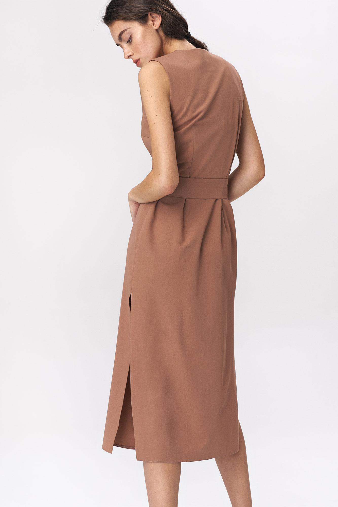 Nife - Karmelowa sukienka szmizjerka 3