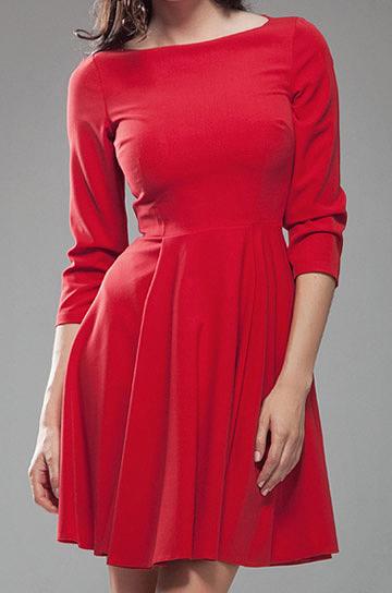 sklep internetowy Nife S19CZ Sukienka AUDREY z rękawem 34 czerwony |
