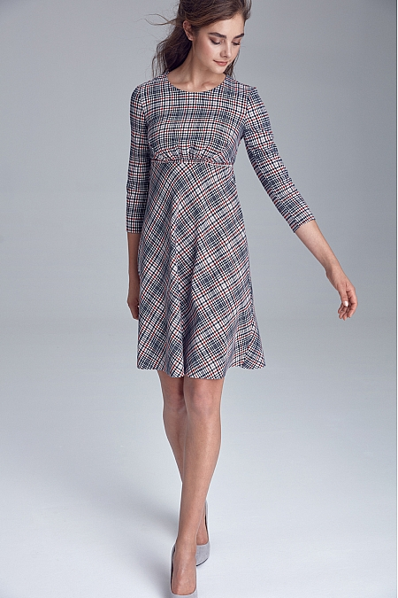 Nife - Sukienka odcięta pod linią biustu - krata/pepitko