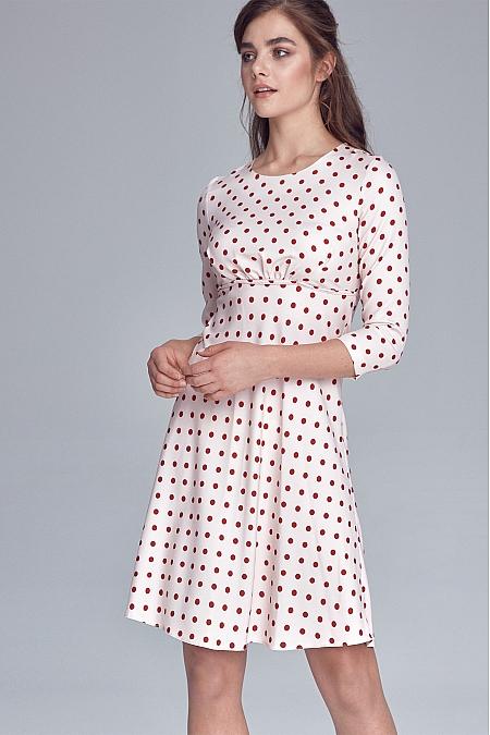 Nife - Sukienka odcięta pod linią biustu - krem/grochy