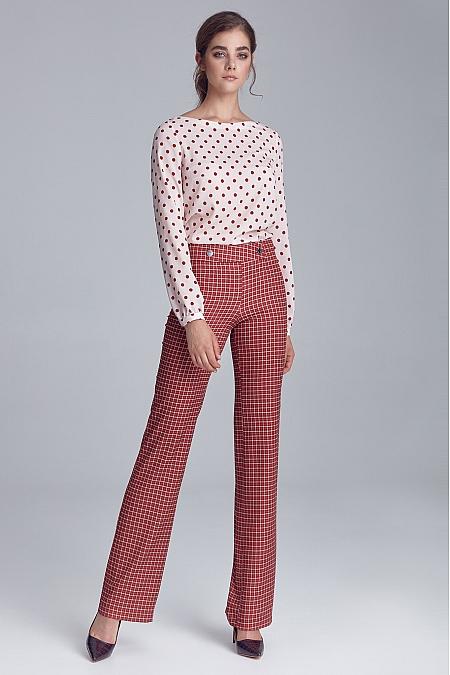 Nife - Spodnie garniturowe z napami - krata/bordo