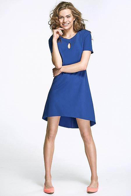 Nife - Sukienka z łezką na dekolcie i dłuższym tyłem  - niebieski