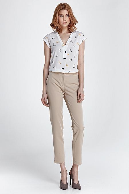 Nife - Eleganckie spodnie z rozcięciem - beż