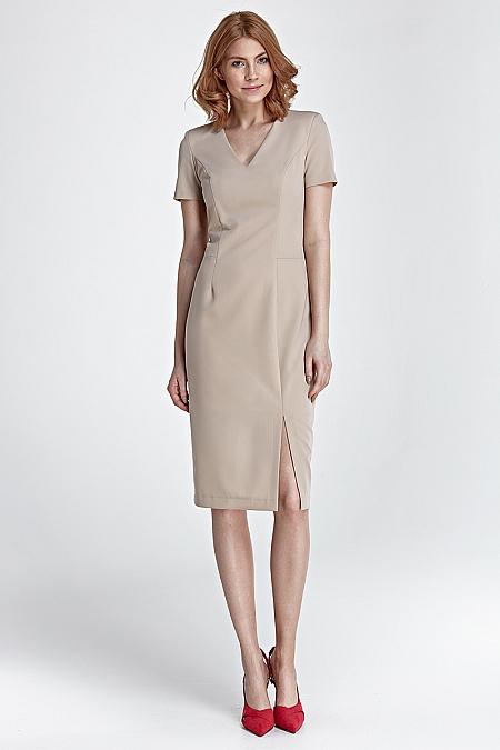 Nife - Sukienka z zamkiem na plecach - beż