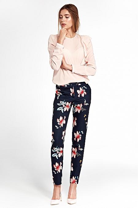 Nife - Klasyczne spodnie z lekko zwężanymi nogawkami - kwiaty/granat
