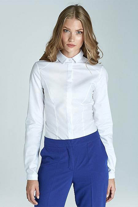 Nife - Taliowana klasyczna koszula - biały