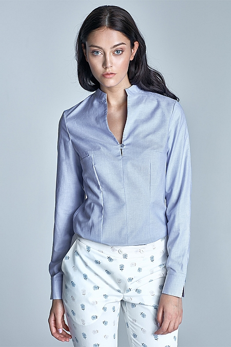 Nife - Koszula ze stójką  - niebieski