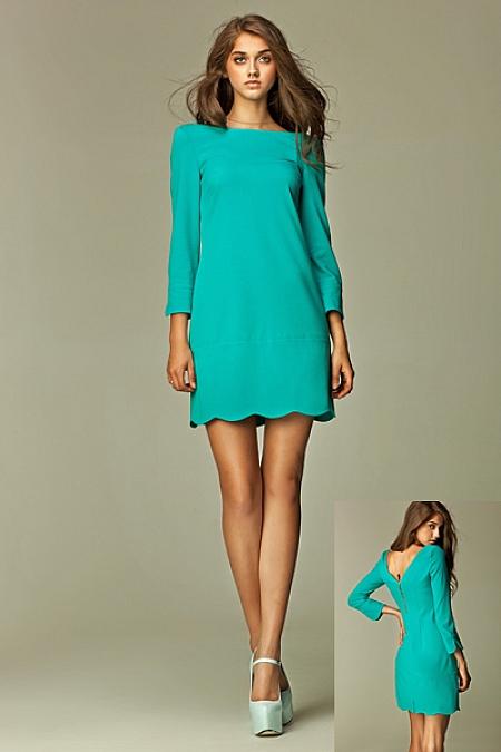Nife - Intrygująca sukienka z zamkiem na plecach - morski