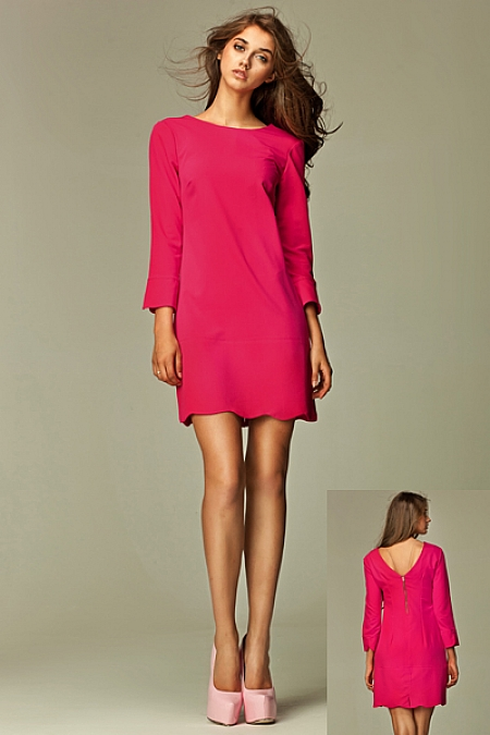 Nife - Intrygująca sukienka z zamkiem na plecach - różowy