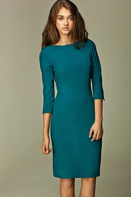 Nife - Sukienka z falowanym brzegiem - lazur