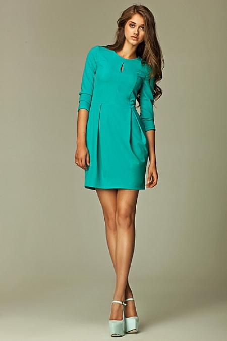 Nife - Sukienka z pęknięciem na dekolcie - morski