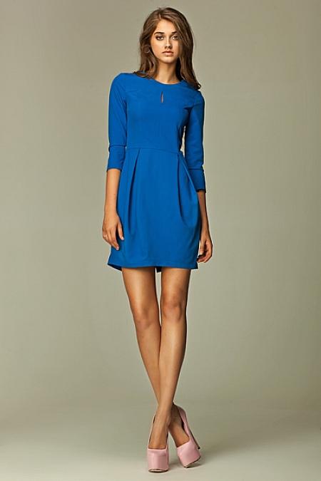 Nife - Sukienka z pęknięciem na dekolcie - niebieski