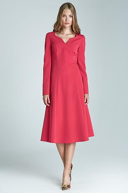Nife - Klasyczna sukienka z długim rękawem - fuksja