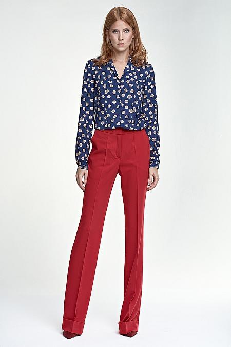 Nife - Spodnie z mankietem - czerwony