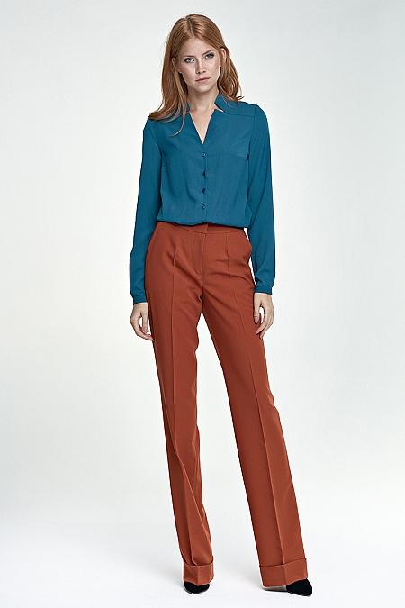 Nife - Spodnie z mankietem - rudy