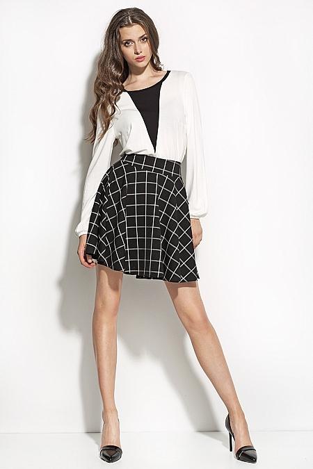 Nife - Spódnica w modnym wzorze sp21 - czarny/kratka