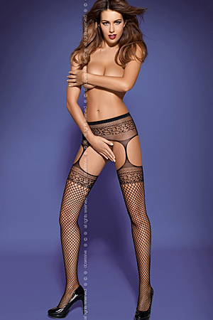 Garter stockings S502 - pas i pończochy - Obsessive