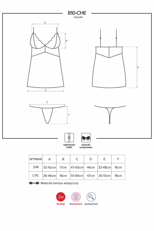 Komplet Obsessive koszulka+stringi 810-CHE-1