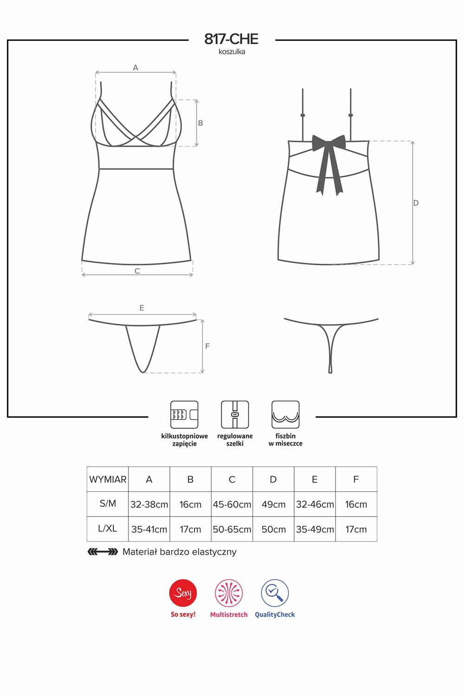 Komplet Obsessive koszulka+stringi 817-CHE-1