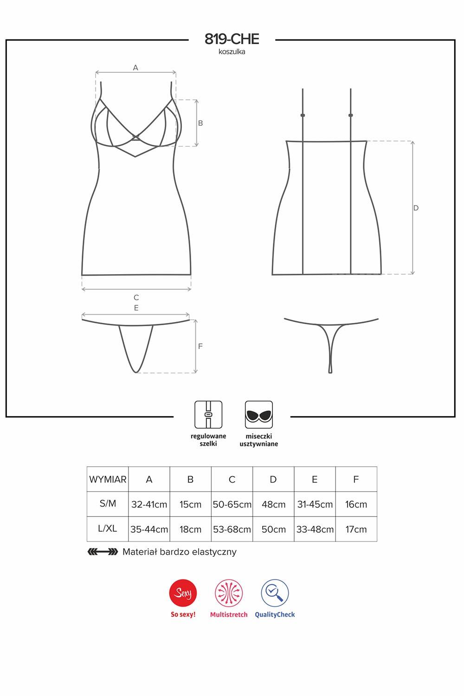 Komplet Obsessive koszulka+stringi 819-CHE-1 - zoom