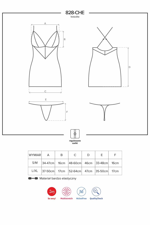 Komplet Obsessive koszulka+stringi 828-CHE-1 - zoom