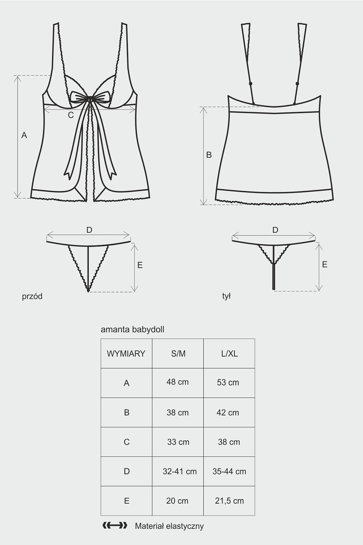 Komplet Obsessive koszulka+stringi Amanta babydoll - zoom