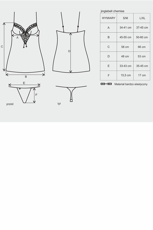Komplet Obsessive koszulka+stringi Jinglebell chemise - zoom