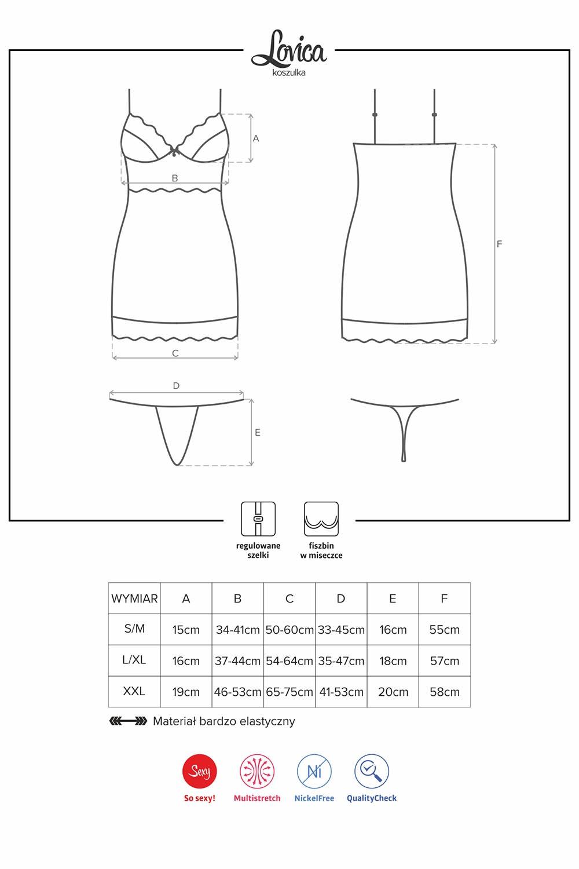 Komplet Obsessive koszulka+stringi Lovica chemise - zoom