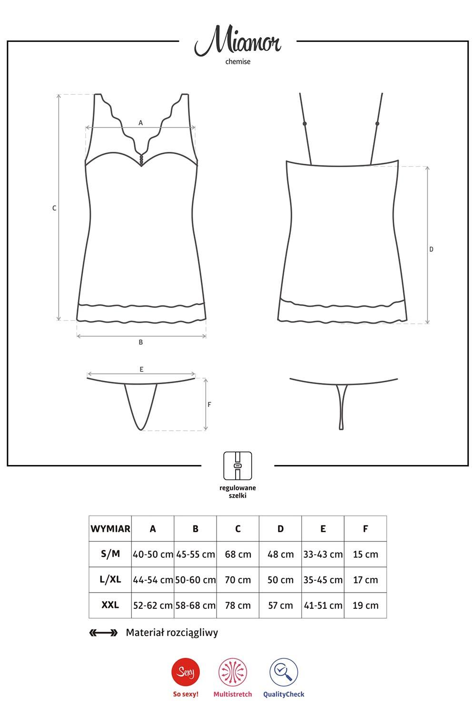 Komplet Obsessive koszulka+stringi Miamor chemise - zoom