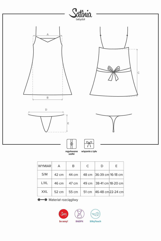 Komplet Obsessive koszulka+stringi Satinia babydoll black - zoom