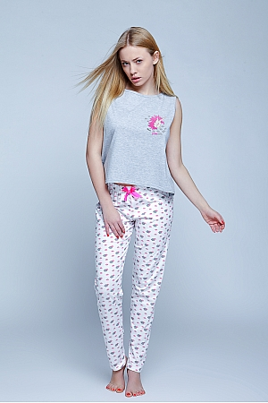 Sensis - Piżama Unicorn  szaro-biały