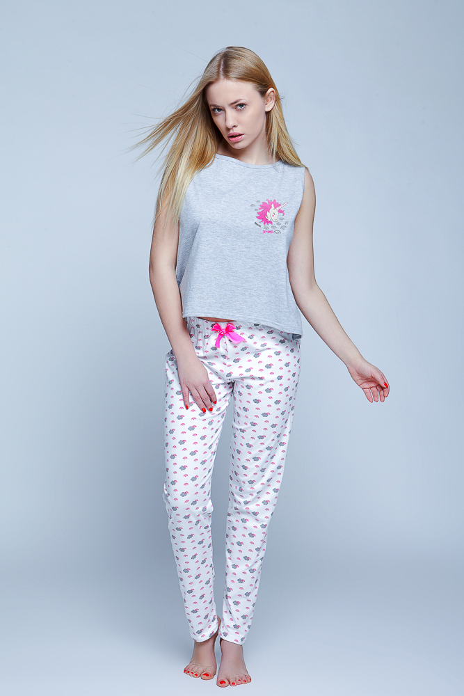 Sensis - Piżama Unicorn  szaro-biały Foto 1
